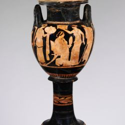 MET.Attributed to the Naples Painter Period:Classical Date:ca. 420 B.C. Culture:Greek, Attic Medium:Terracotta; red-figure Dimensions:H. without lid 17 1/8 in. (43.5 cm) diameter 8 7/16 in. (21.4 cm) Classification:Vases