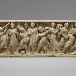 MET. Period:Late Imperial, Gallienic Date:3rd quarter of 3rd century A.D. Culture:Roman Medium:Marble, Pentelic Dimensions:Overall: 21 3/4 x 77 1/4 x 22 1/2 in. (55.3 x 196.2 x 57.2 cm) Classification:Stone Sculpture