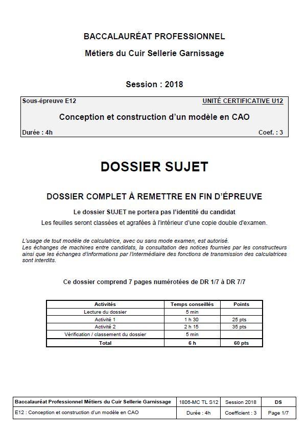 E12 - Conception construction d un modèle en CAO SELLERIE 2018 ... 366dfa4ced2