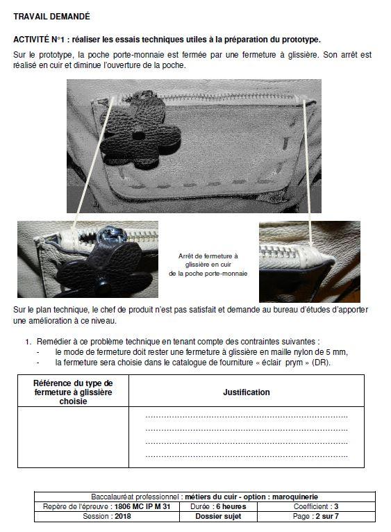 E31 - Industrialisationdu produit - MAROQUINERIE 2018 - éduscol STI 90a2cc2b39c
