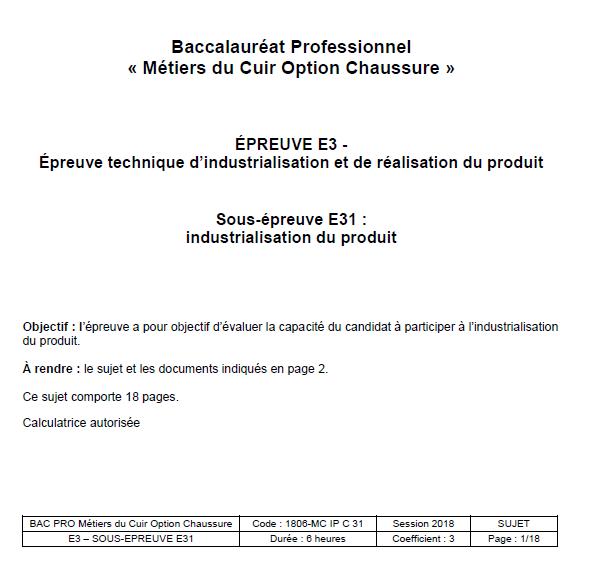 E31 - Industrialisationdu produit - CHAUSSURE 2018 - éduscol STI 9b009c6192c