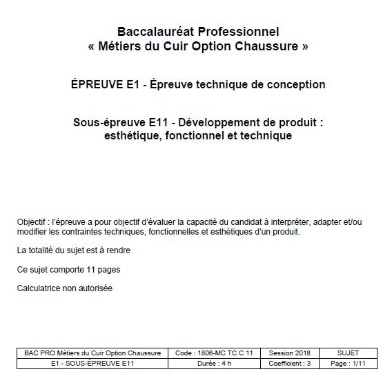 E11 - Développement de produit - CHAUSSURE 2018 - éduscol STI 6aee4d35084