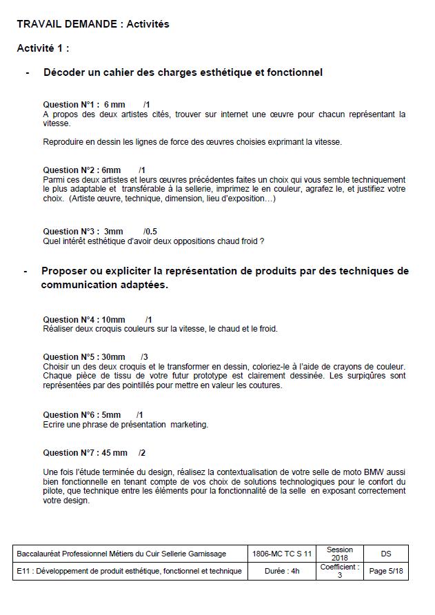 E11 - Développement de produit - SELLERIE GARNISSAGE 2018 - éduscol STI b26f5b7e0e5