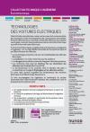 Technologies des voitures électriques - Qautrième de couverture