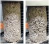 Essai de compression d'une éprouvette en béton de chanvre