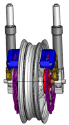 Fourche avec deux étriers de frein