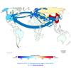 Représentation des flux de marchandises à travers le monde, convertis en mégatonnes de dioxyde de carbone