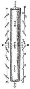 Positions de la boussole autour d'un barreau aimanté, source De Magnete de W. Gilbert