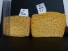 Comparaison des tailles de l'éponge A (eau seule) et de l'éponge H (sucre à 5%) après séchage