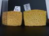 Comparaison des tailles de l'éponge A (eau seule) et de l'éponge I (produit vaisselle à 5%) après séchage
