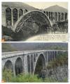(a) construction de la grande arche (portée 80 m) à l'aide d'un cintre (été 1916) ; (b) vue générale aujourd'hui