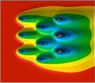Simulation d'isothermes autour de 9 pieux